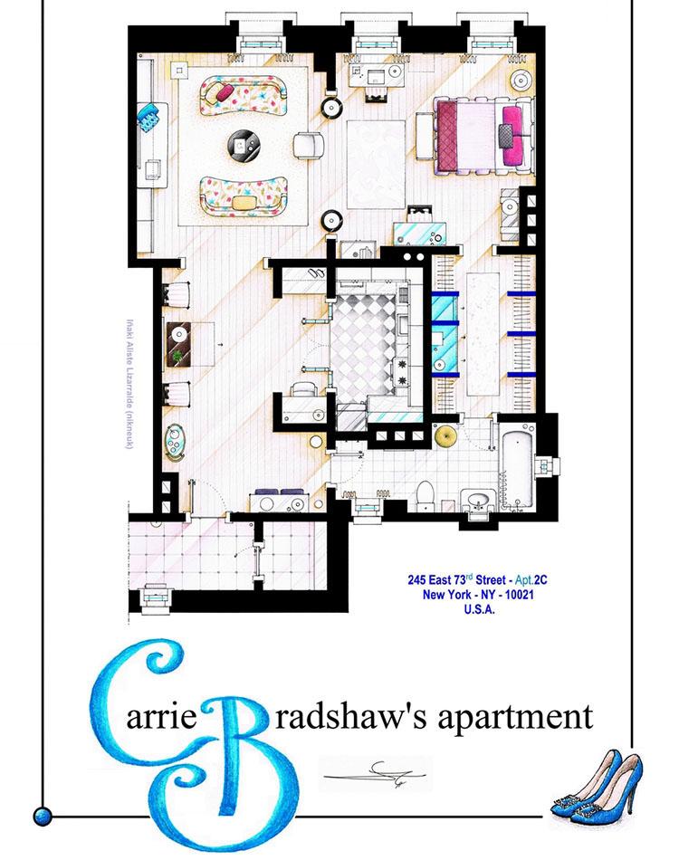 6e120730ae O apê de Carrie Bradshaw e a casa dos Simpsons